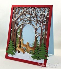 KC-Christmas in July Snow Scene by Kittie Caracciolo My project today was made using the Grand Forest Archway, Medium Forest Archway, Small Forest Archway, Valley Deer Trio, Impression Obsession Fir Trees die set and Fir Tree and Small Fir Tree stamps. Christmas Cards To Make, Christmas In July, Holiday Cards, Christmas Crafts, Christmas Trees, Winter Karten, Winter Cards, Pretty Cards, Cool Cards
