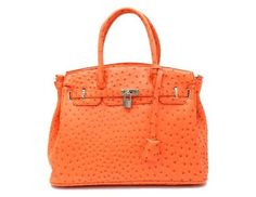 Tangerine Ostrich Embossed Tote Purse Free Ship $58.00