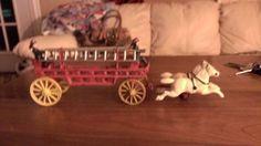 Vintage Cast Iron Horse Drawn Fire Wagon