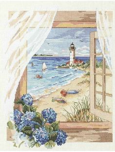 Aliexpress.com : Buy free patterns 14ct Counted Cross Stitch Kit landscape Window Scenes Seaside Cross Stitching embroidery Wall painting decoration from Reliable decorative glass painting suppliers on Home Decoration Paintings Store  | Alibaba Group