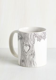 Beat of My Bark Mug. Start the day with a smile while sipping from this 'tree'-riffic white mug! #white #modcloth
