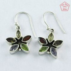 925 Sterling Silver Multi Stone Earrings Jewelry for your loved ones by JaipursilverindiaCo on Etsy