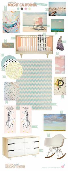 California Peach: Bright California | Nursery -- for a Girl || 0VOC, Baby Room, Black, blue, bright, California, California Peach, Caravan Crib, chevron, Eco Friendly, girl, Modern, Mythic Paint, Non-Toxic, Nursery, Organic, Peach, pink, Style Board, turquoise