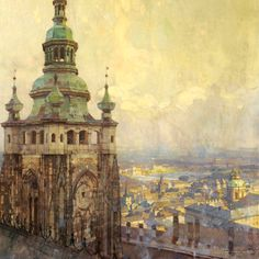 "Vitus Cathedral, looking out over Prague -Jaroslav Setelik "" Traditional Paintings, Traditional Art, Art Et Architecture, Classical Realism, Prague Travel, Wallpaper Space, Landscape Paintings, Landscapes, New Art"
