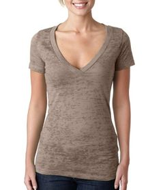 6540 Next Level Ladies' Poly/Cotton Burnout Deep V - White - S - http://bandshirts.org/product/6540-next-level-ladies-polycotton-burnout-deep-v-white-s/