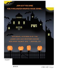 Frightful House with Jack-O-Lantern Invitation |  Birth Announcements, Photo Cards and Invitations from Zurianas Elegant Occasions #halloween