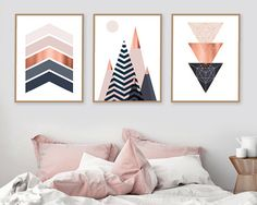 Set of 3 Printable Art Print Set Scandinavian Print Copper And Pink, Geometric Wall Art, Geometric Painting, Diy Wall Art, Canvas Wall Art, Bedroom Wall, Dream Bedroom, Bedroom Ideas, Printable Wall Art