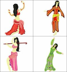 """Applique Bellydance"" comes with 9 designs featuring both traditional & also dancers in dress commonly seen in the West. Great for any dancer, or just if you'd like a little exotic culture in your decor!"