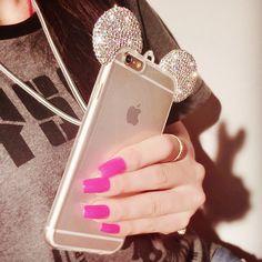 NEW Diamond Mickey Minnie Case for iPhone 7 7 Plus 6 6s Plus Fundas Luxury Fashion Rhinestone Soft TPU Clear Cartoon Case Cover