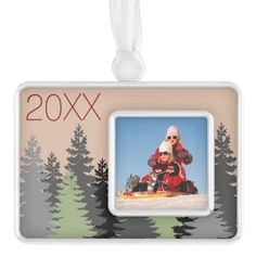 Rustic Cabin Pine Tree Custom Photo Year Keepsake Silver Plated Framed Ornament