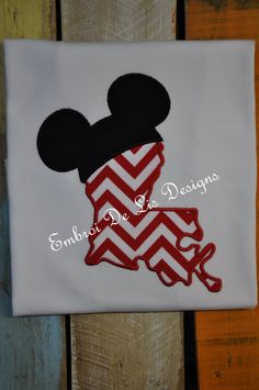 Personalized Mickey Mouse Louisiana by EmbroiDeLisDesigns on Etsy