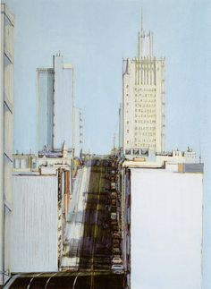 Perspective, Section, Elevation - Love them all together!  Day City (Bright City) - Wayne Thiebaud, 1982