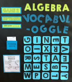 Vocabulary bulletin board and 8 other bulletin board ideas for the math classroom.