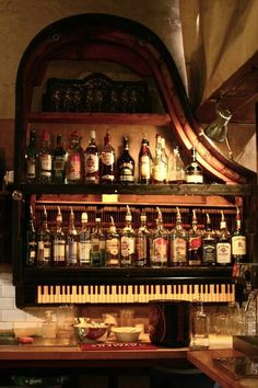 New meaning to piano bar. Piano Bar, Piano Table, Piano Room, Repurposed Furniture, Cool Furniture, Bohemian Furniture, Vieux Pianos, Old Pianos, Baby Grand Pianos
