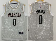 Portland Trail Blazers #0 Damian Lillard Adidas 2015 Gray City Lights Swingman Men's Jersey