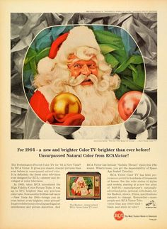 1964 RCA Victor Color Television NOTE: RCA was still using its own circular picture tube, but in 1965 Motorola comes out with the rectangular picture tube! Great Christmas Movies, Christmas Books, Retro Christmas, Vintage Holiday, Christmas Print, Christmas Decor, Xmas, Vintage Advertisements, Vintage Ads