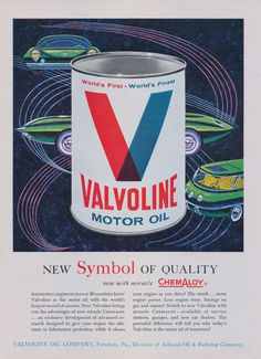 1960s Valvoline Vintage Advertisement ~ Atomic Age Man Cave / Garage Wall Art  Original print ad, featuring an illustration of futuristic cars.