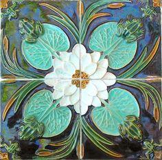 milkywayrollercoaster:  FrogsPortuguese Art Nouveau TilesCaldas da RainhaFábrica Faianças Bordalo Pinheirophoto: Solar Azulejos