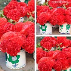 flores-claveles-de-papel-latas-manualidades-dia-de-la-cruz Spanish Party, Skin Paint, Party Rock, Natural Facial, Handmade Flowers, Flower Crafts, Car Painting, Boy Or Girl, Herbalism
