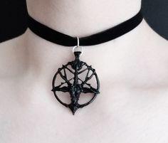 Black gothic pentagram choker