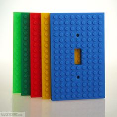 Single Lightswitch cover measures 125mm tall x 80mm wide (5 tall x 3 wide). Double Lightswitch cover measures 125mm tall x 125mm wide (5 tall x 5 wide). Boys Lego Bedroom, Big Boy Bedrooms, Legos, Lego Room Decor, Lego Bathroom, Lego Craft, Minecraft Crafts, Lego Gifts, Lego For Kids