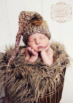 Elf Hat Long Tail Photography Prop - Newborn Baby Handmade Crochet - Medium  Tans and Browns d457f9b2b5b6