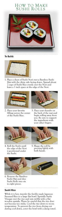 How to make sushi rolls!    http://www.yamamotoyama.com/rec_How2MkSushiRls.html