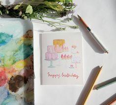 Birthday Card: Dessert Bar by StripedCatStudio on Etsy