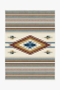 Designed after traditional Mexican blankets, our Saltillo Polychrome Rug features a diamond emblem surrounded by four flying quetzal birds in a myriad of earth-tone stripes. Stone Rug, Machine Washable Rugs, Turquoise Rug, Black Rug, Natural Rug, Colorful Rugs, Area Rugs, Mexican Blankets, Rug Features