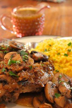 Pork Chops alla Marsala with Risotto alla Milanese