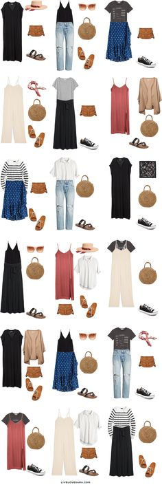 Ideas travel outfit summer packing capsule wardrobe for 2019 Capsule Wardrobe, Capsule Outfits, Fashion Capsule, Travel Wardrobe, Wardrobe Ideas, Europe Outfits Summer, Outfits For Spain, Travel Outfit Summer, Summer Travel