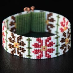 This Native American Style Amarylis Christmas Bead Loom Cuff Bracelet was inspired by the beautiful Native American patterns I see around me here in