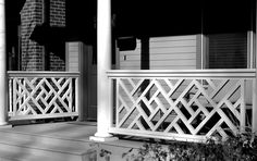 Chelsea & Meade offer architectural grade fretwork in the Chinese Chippendale style, for use in exterior railings, screens, gates & fences. Porch Railing Designs, Front Porch Railings, Balcony Railing Design, Deck Railings, Banisters, Grill Gate Design, Balcony Grill Design, House Gate Design, Tor Design