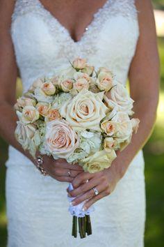 Pastel summer wedding bouquet idea - classic wedding bouquet of light pink roses + white hydrangeas{blue martini photography}
