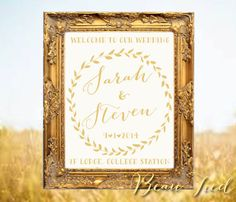 Wedding Welcome Sign • Welcome To Our Wedding • Personalized Wedding Sign • CREAM and GOLD on Etsy, $135.00