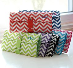 Chevron makeup roll brush set - personalize with monogram, name, or initials.