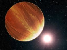 This is an artistic illustration of the gas giant planet HD 209458b in the constellation Pegasus. To the surprise of astronomers, they have found much less water vapor in the hot world's atmosphere than standard planet-formation models predict. Image Credit: NASA, ESA, G. Bacon (STScI) and N. Madhusudhan (UC)