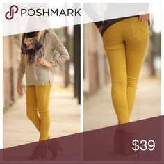 """Mustard Distressed Skinny Jean Great fit and great stretch! Modeling size 3. 98% cotton 2% spandex. Waist laying flat: 13"""" (1) 13.5"""" (3) 14"""" (5) 14.5"""" (7) 15"""" (9) 15.5"""" (11) 16"""" (13) hip laying flat: 15.5"""" (1) 16"""" (3) 16.5"""" (5) 17"""" (7) 17.5"""" (9) 18"""" (11) 18.5"""" (13) Inseam 27"""" (1-5) 27.5"""" (7-9) 28"""" (11-13). IRS8500818.DBP0352 Jeans Skinny"""