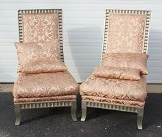 Pr Santorini silk upholstered high back side chairs, silvered frames with pillows,