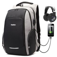 13.6$ #Fashion Backpack Usb Headphones, Bag Women, Waterproof Backpack, North Face Backpack, School Bags, Simple Style, Fashion Backpack, Shoulder Strap, Laptop