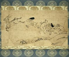 Handscroll of Frolicking Animals, 12th century. Attributed to the monk Toba Sōjō (Japanese, 1053–1140). One of the earliest examples of an anthropomorphic tale, whose protagonists are animals and fantastic creatures. Designated an official National Treasure in Japan.