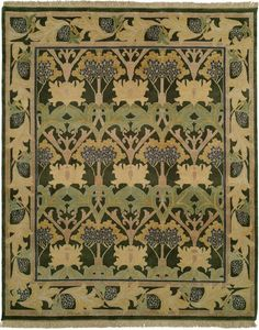 Modern hand-knotted reproduction Craftsman rug.Bloomsbury design. it was displayed at the Grafton Gallery in London during a Liberty;s exhibition in 1903. This carpet was also available in the catalogues of Gustav Stickley. The carpets design artfully depicts giant hemlock boughs, and is a fine example of the Donegal carpets woven during the Arts & Crafts period.