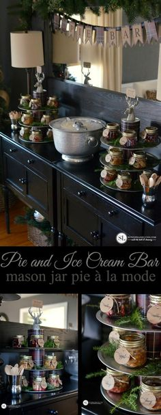 Pie and Ice Cream Bar | Mason Jar Pie à la Mode - Party Plans and Printables #sharethejoyofpie @conagrafoods @walmart #ad #holiday #entertaining
