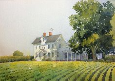 """On Dover Road by Richard Sneary Watercolor ~ 7"""" x 10"""""""