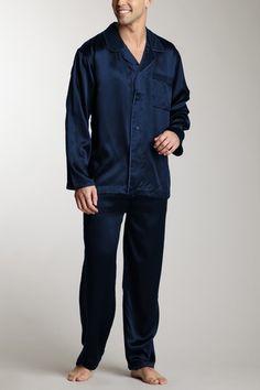 solid silk pajama set