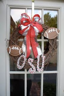Just Lovely Wreaths( i didnt use footballs, i did use three diff ribbon.)