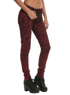 LOVEsick Red Acid Wash Skinny Jeans | Hot Topic