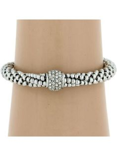 Silvertone & Crystal Accented Seed Bead Bracelet #AB6852-RH | Wholesale Accessory Market