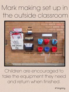 Mark making resource set up in my outdoor classroom. Use plastic jugs, label with pics, hang on hooks, easy clean up for teacher at the end of the day Eyfs Classroom, Outdoor Classroom, Outdoor School, Reception Classroom Ideas, Outdoor Learning Spaces, Outdoor Education, Early Education, Writing Area, Writing Station