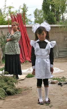 School Uniform Kygyzstan look like the one pictured above. Normally only girls wear uniforms to school. Both boys and girls go to school together.